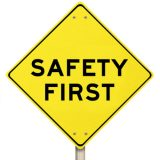 Yellow Warning Sign - Safety First - Isolated